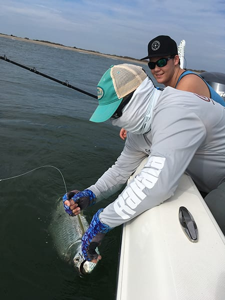 Tarpon can be found feeding on pogies and croakers just outside the surf break on most days.