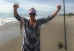 Happy lady angler catching two whiting at a time on the South Beaches.