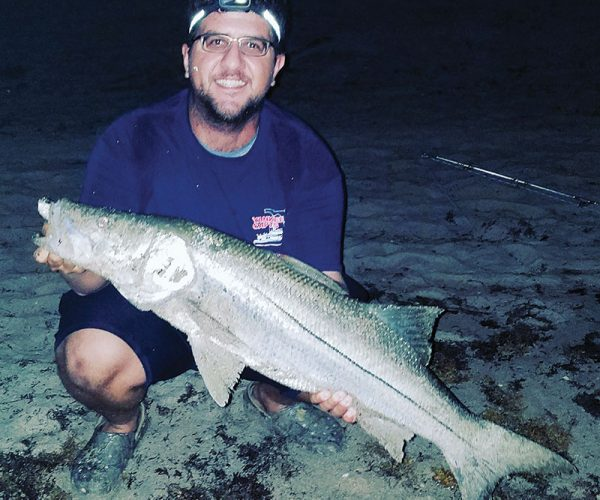 Chris Pascual caught this snook off the beach on an artificial lure.