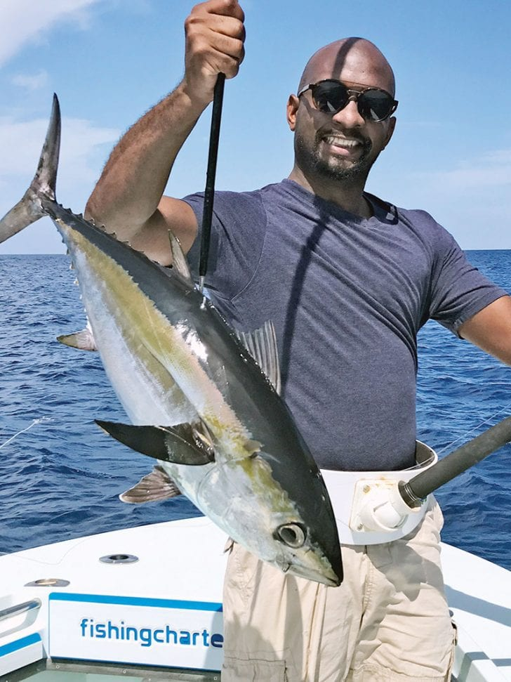 Nice blackfin tuna caught with Nomad Fishing Charters.
