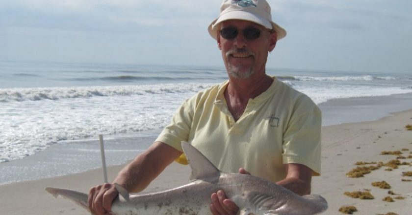 Happy angler with a nice almost four foot bonnethead shark.