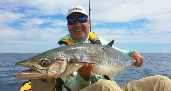Mark Kazmerick scored this heavy kingfish on a Local Lines Kayak fishing charter.