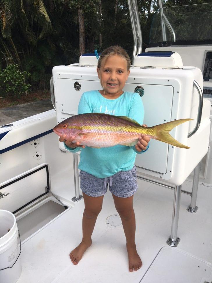 Jazlyn Ruiz, age 10, yellowtail fishing off Juno Beach using