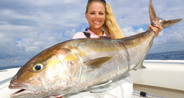 Darcizzle caught a big amberjack on a live goggle eye bump trolling out of Palm Beach