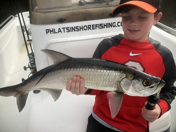 Lincoln with his first ever tarpon.