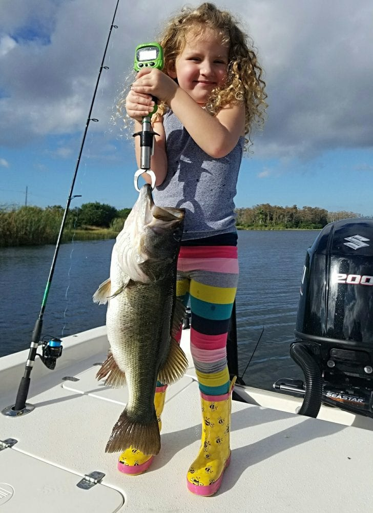 Scout with a 6.4 largemouth she caught New Year's Day