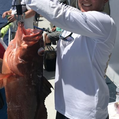 Tonia McConnell with an 18lb red grouper, Dry Tortugas on the Yankee Captain