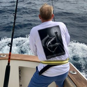Ed Bourne form Kentucky with his first sailfish out of Jupiter on Trick or Treat Sportfishing