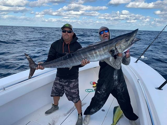 Ryan McGinnis and Dan Cupertino landed this beauty on board Outfront in 150 ft off of Boynton. It hit a threadfin on a kite. (1)