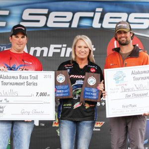 The team of Damien Willis and Tyler Kiker had a mixed bag stringer of smallmouth and largemouth that weighed 22.70 pounds to claim victory, and the $10,000 winning purse at the ABT Wheeler Lake event.
