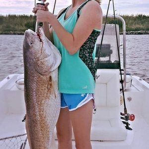 Melesa Farmer caught this nice bull redfish in Mobile Bay while fishing with her dad.