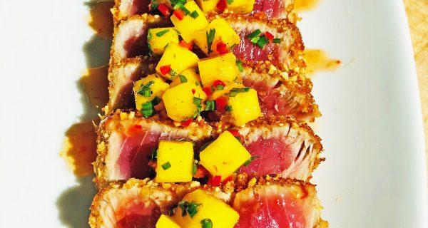 Tuna with mango salsa and sweet chili glaze