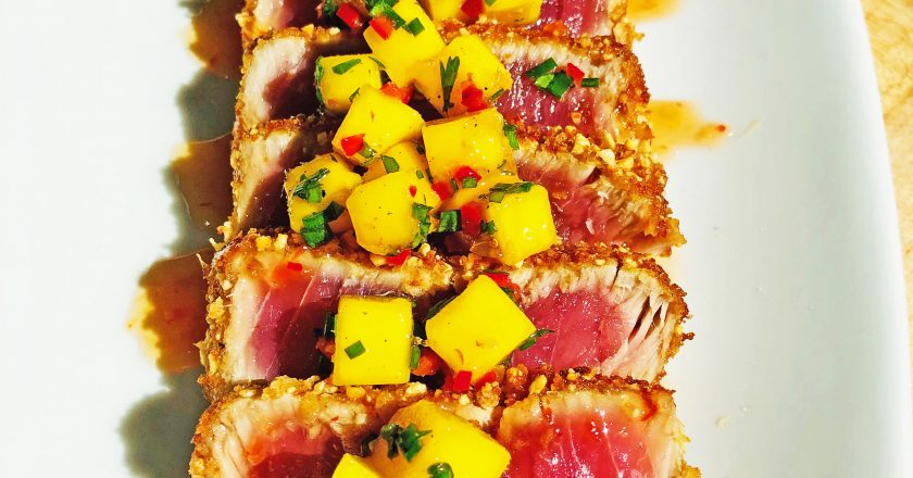 Tuna with mango salsa and sweet chili glaze