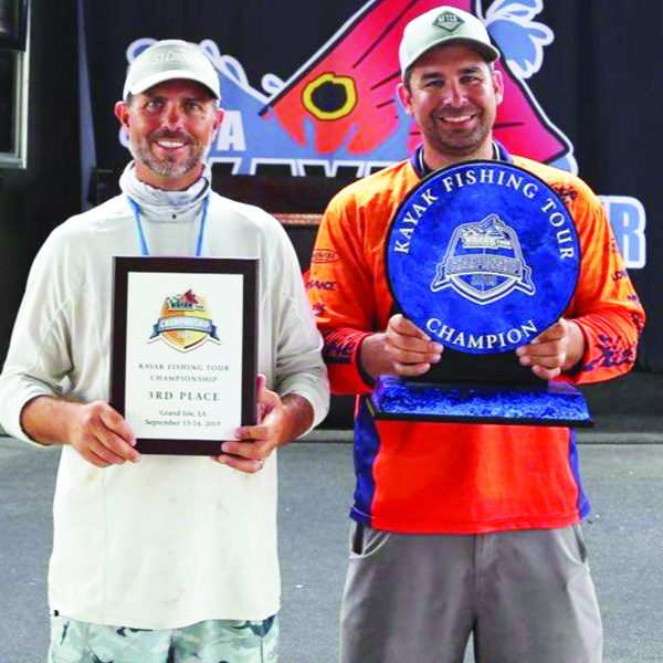 Grand Isle, LA. Benton Parrott, 3rd place and Brendan Bayard taking 1st place at the IFA Kayak Fishing Tour