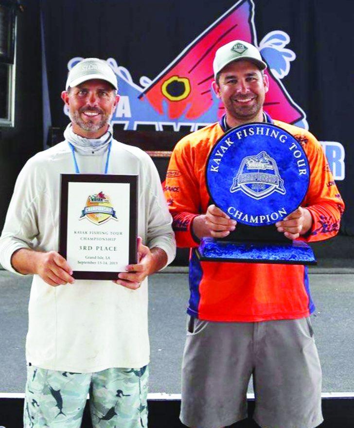 Grand Isle, LA. Benton Parrott, 3rd place and Brendan Bayard taking 1st place at the IFA Kayak Fishing Tour