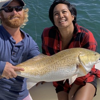 A beautiful Redfish caught on a day trip on the Gulf of Mexico with Getaway Charters.