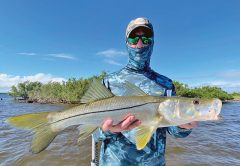James with a nice snook he caught on a jerk bait rigged on a 1/8 ounce jighead!