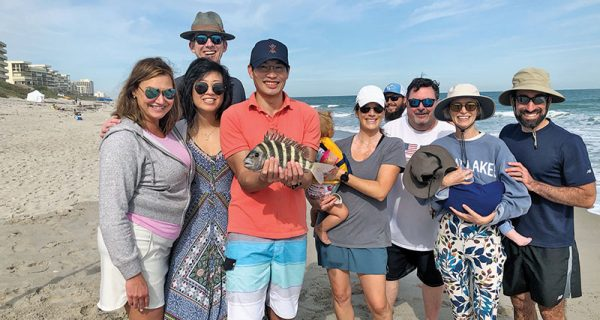 A beautiful sheepshead for this family fun-filled surf fishing excursion.